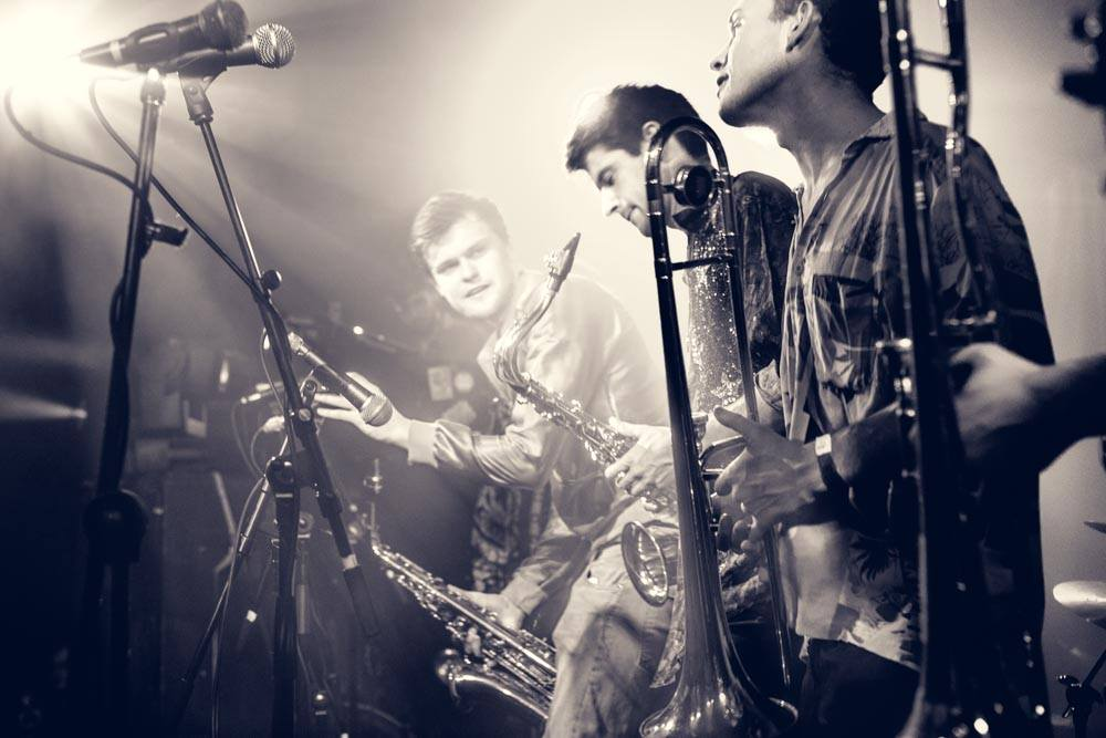 Funky brass roaming band